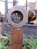 Large wood and metal sculpture titles