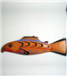 Wooden wall art of a fish with bright colors titled