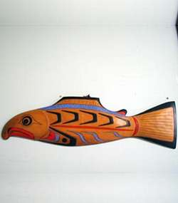 "Wooden wall art of a fish with bright colors titled ""Fish"" by artist Kevin Paul"