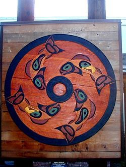 "Wooden painted wall art of fish in a Native American spirit wheel titled ""Spirit Wheel"" by artist Kevin Paul"